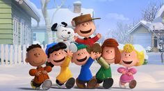 Charlie Brown, Snoopy and the Peanuts gang (Franklin, Lucy, Linus, Peppermint Patty and Sally) enjoying a snow day in The Peanuts Movie.