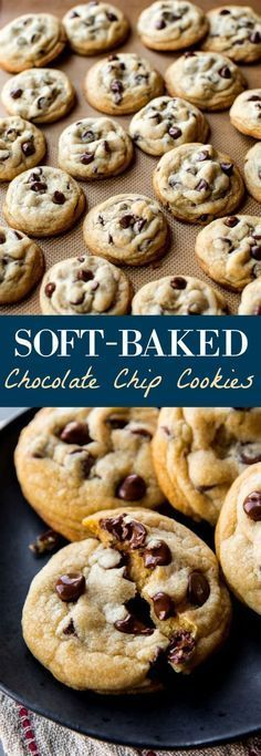 Soft-batch style chocolate chip cookies using a few tricks to make them extra thick and soft! Recipe on sallysbakingaddic...