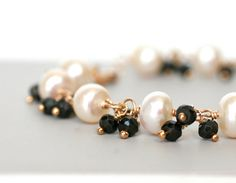 Bracelet White Freshwater Pearls and Black Spinel by WrennJewelry, $45.00