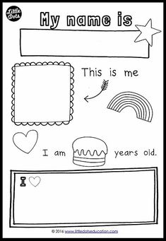 Free all about me theme printable for preschool, pre-k or kindergarten clas Preschool About Me, Free Preschool, Preschool Themes, Preschool Printables, Kindergarten Worksheets, Worksheets For Kids, Free Printables, Printable Worksheets, Kindergarten Class Rules