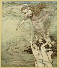 The water Nymphs, that in the bottom plaid, Held up their pearled wrists and took her in. - from John Milton's Comus, illustrated by Arthur Rackham