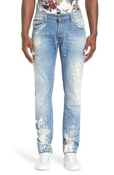 Just Cavalli Distressed Bleached Slim Fit Jeans (Blue) available at #Nordstrom