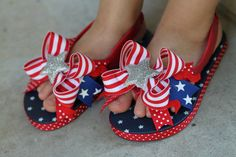 Stars and Stripes Bow Toddler Flip Flops - Red White and Blue flip flops --