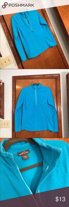 Eddie Bauer women's half zip crew neck size medium Eddie Baurer, women's medium, blue, fleece, quarter zip, worn few times, awesome condition - no flaws :) Eddie Bauer Tops Sweatshirts & Hoodies