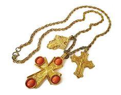 Kenneth Jay Lane KJL Necklace Medieval Cross by zephyrvintage
