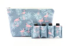 Essential Oil Bag,  Essential Oil Travel Bag, Essential Oil Pouch, Essential Oil Carry Bag, Essential Oil Wallet, Pale Blue Flamingo