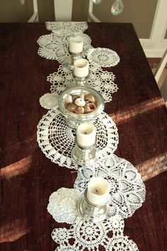 old doilies sewn together make a table runner by Ms.B