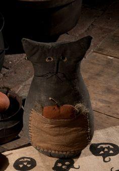Prim kitty with pumpkin
