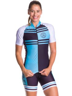 a3e6793a6 Coeur Sports Blue Steel Short Sleeve Cycling Jersey fit and flatters  feminine curves and designed for competition and have a pro fit and many  features.
