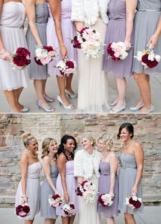 I love the different colored pastel bridesmaid dresses. I love the idea of having different colored bridesmaid dresses period!