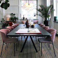 Dining room inspo #blushpink #blackdiningtable
