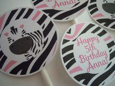 Zebra Pink Cupcake Toppers Zebra Birthday party by Lilmisscupcake2, $10.00
