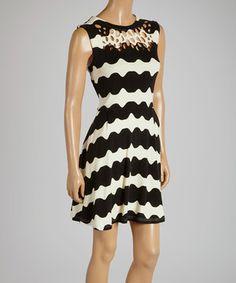 Look at this #zulilyfind! Black & White Stripe Fit & Flare Dress by SoHo Chick #zulilyfinds