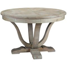 Gather friends and family around this pedestal-style dining table, crafted of salvaged hardwood for timeworn appeal. Add a lace runner and crisp plates for soft contrast, or play up its rustic feel with copper chargers and burlap linens.