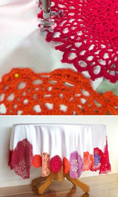 Repurpose vintage doilies - this is a great idea if you have a bunch that are badly discolored or stained.