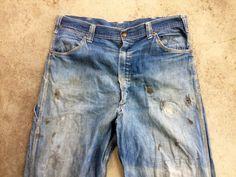 Vintage 1950s Mens KEY Sanforized Indigo Denim Selvedge Indigo Work JEANS Pants 35x33 Lee Levis Wrangler