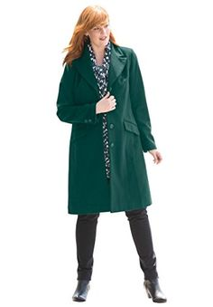 Jessica London Womens Plus Size ThreeQuarter WoolBlend Coat Emerald Green14 -- Continue to the product at the image link.