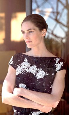 Hilary Rhoda in a black and white #lace #StJohnKnits dress from the #PreFall2015 collection.