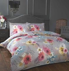 Flower Design Bedspread Comforter Quilted Throw Fits Double Bed Size 195 X 229cm Delicious In Taste Home, Furniture & Diy