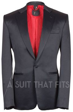 Black Dinner Suit Two Piece Suit with a red lining.