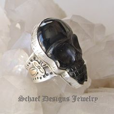 David Troutman Jewelry |Black Obsidian Skull & Sterling Silver cross ring | upscale online turquoise, southwestern, native american, equine, & gemstone jewelry gallery boutique| Schaef Designs artisan handcrafted Jewelry | San Diego CA