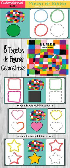 Tarjetas de grafomotricidad de Elmer para que los peques aprendan el trazo y las figuras geométricas. Elmer the elephant, graphomotor, recursos educativos, aprender figuras geometricas, trazos