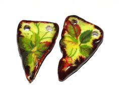 Unusual Ceramic Earring Charms Pair Lime Floral by Grubbi on Etsy