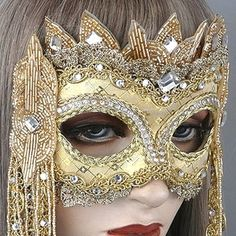 Rapunzel Masquerade Mask by Gypsy Renaissance - Magic and Myth Collection. Elaborate crystal work. Gold and Silver embellishes. Halloween, sweet 16, weddings, masquerade ball.