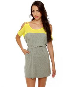 Good Grades Yellow and Grey Dress , so summery