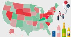 A Map Of The Drunkest States In America During The Summer