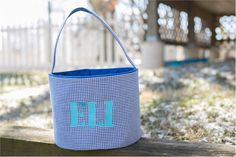 Monogrammable Gingham Easter Basket Tote - BLUE Embroidery Blanks, Embroidery Software, Machine Embroidery, Easter Baskets, Easy Crafts, Gingham, Bucket, Fun, Bags