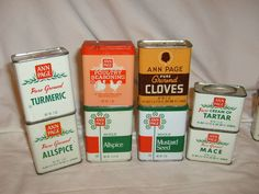 LOT OF 8 ANN PAGE SPICE TINS, PINK POULTRY SEASONING TURKEY & ROOSTER  #ANNPAGE