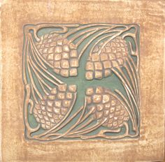 "Pine cone tile, 8"" x 8"" -- historically accurate reproduction of American Arts & Crafts style tile by Tile Restoration Center"