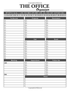 The Office Organizer: Daily Monthly Work Day Organizer, Journal Planner Notebook Schedule, To Do List, Project Notes , Keep of Your Activities and Tasks 150 Pages Inches (Gift) (Volume Work Planner, Planner Tips, Life Planner, Notebook Organization, Office Organization, Organizing, Planner Sheets, Planner Pages, Business Letter Template