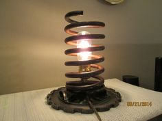 Lamp Re-Purposed From Car/Truck Spring, Farm Planter Plate, Industrial Lighting on Etsy, $187.00