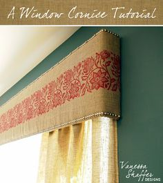 more unobtrusive than deep cornice so good for small room.Vanessa Shaffer Designs: A DIY Window Cornice - could see this in many different fabrics! Window Cornices, Window Coverings, Window Treatments, Home Projects, Home Crafts, Diy Home Decor, Diy Crafts, Cornice Boards, Nailhead Trim