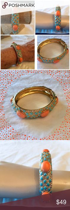 Stella & Dot Bracelet Gorgeous colorful bracelet to wear with so many things. Orange and blue stones with sparkles and gold Stella & Dot Jewelry Bracelets