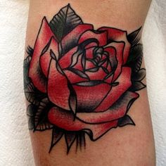 old school rose tattoo I've never been into a rose tattoo for me personally but this one is amazing!