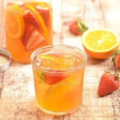 Strawberry Orange Refrigerator Iced Tea that's mellow in flavor, refreshing and naturally sweetened with fresh fruits. It's a delicious way to hydrate all year round!