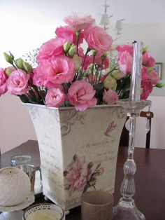 by Shabby Chic Seasonal Flowers, Diy Flowers, Lavender Centerpieces, Beautiful Flowers, Beautiful Bouquets, Simply Beautiful, Floral Arrangements, Flower Arrangement, Romantic Shabby Chic