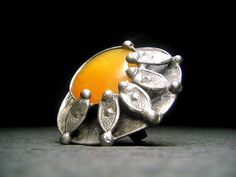 Feels Like Summer Already by FirstLightGlass on Etsy Yellow Rings, Big Yellow, Chunky Rings, Big Rings, Cocktail Rings, Stone Rings, Statement Rings, 6 Inches, Antique Silver