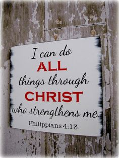 Typography Wall Decor- All Things Through Christ- Philippians 4:13- Distressed Wood Sign- Christian Bible Verse