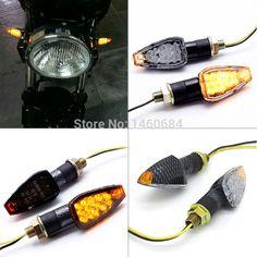 2pcs/lot 12V Universal Motorcycle Turn Signal Light Amber Color 14 LED  Indicator Blinker Flash