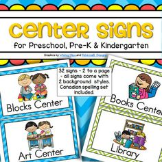 This is a set of center signs for preschool, PreK and Kindergarten. 32 signs – 2 to a page – all signs come with 2 background styles – medium blue chevron, and lime green and white chevron. A Canadian spelling set is included in blue chevron. Kindergarten Center Signs, Preschool Center Labels, Classroom Center Signs, Kindergarten Centers, Preschool Songs, Free Preschool, Preschool Themes, Preschool Printables, Kindergarten Classroom