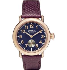 Shinola - The Runwell 36mm PVD Rose Gold-Plated and Pebble-Grain Leather Watch