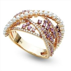 .50 ct of vibrant Amethyst, .49ct of shimmering diamonds and twenty-three 1.5-2mm seed pearls set in 14K Rose gold…