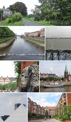 Die Kleine Weser in der Neustadt und der Teerhof mit Blick auf Schlachte und Überseestadt