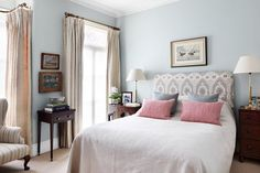 The Serene Pale Blue Bedroom of Jamb director Henry Bickerton. Set in a revived this Victorian town house in English country-house style - bedroom design on HOUSE by House & Garden Home Bedroom, Bedroom Decor, Bedroom Ideas, Bedroom Storage, Teen Bedroom, Master Bedroom, Bedroom Inspiration, Design Inspiration, Design Ideas