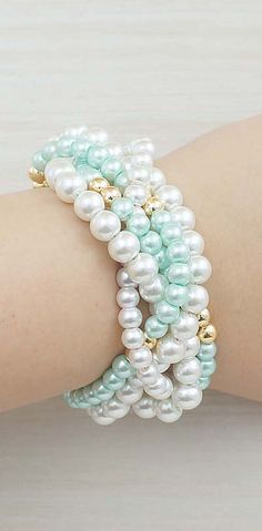Mint and Gold Pearl Bracelet