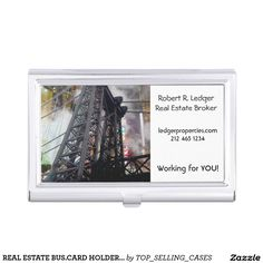 REAL ESTATE BUS.CARD HOLDER - YOUR NAME! BUSINESS CARD CASE